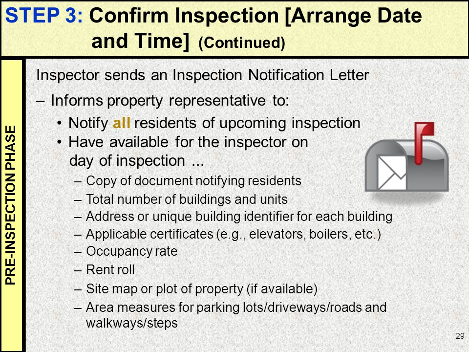 STEP 3: Confirm Inspection [Arrange Date and Time] (Continued)